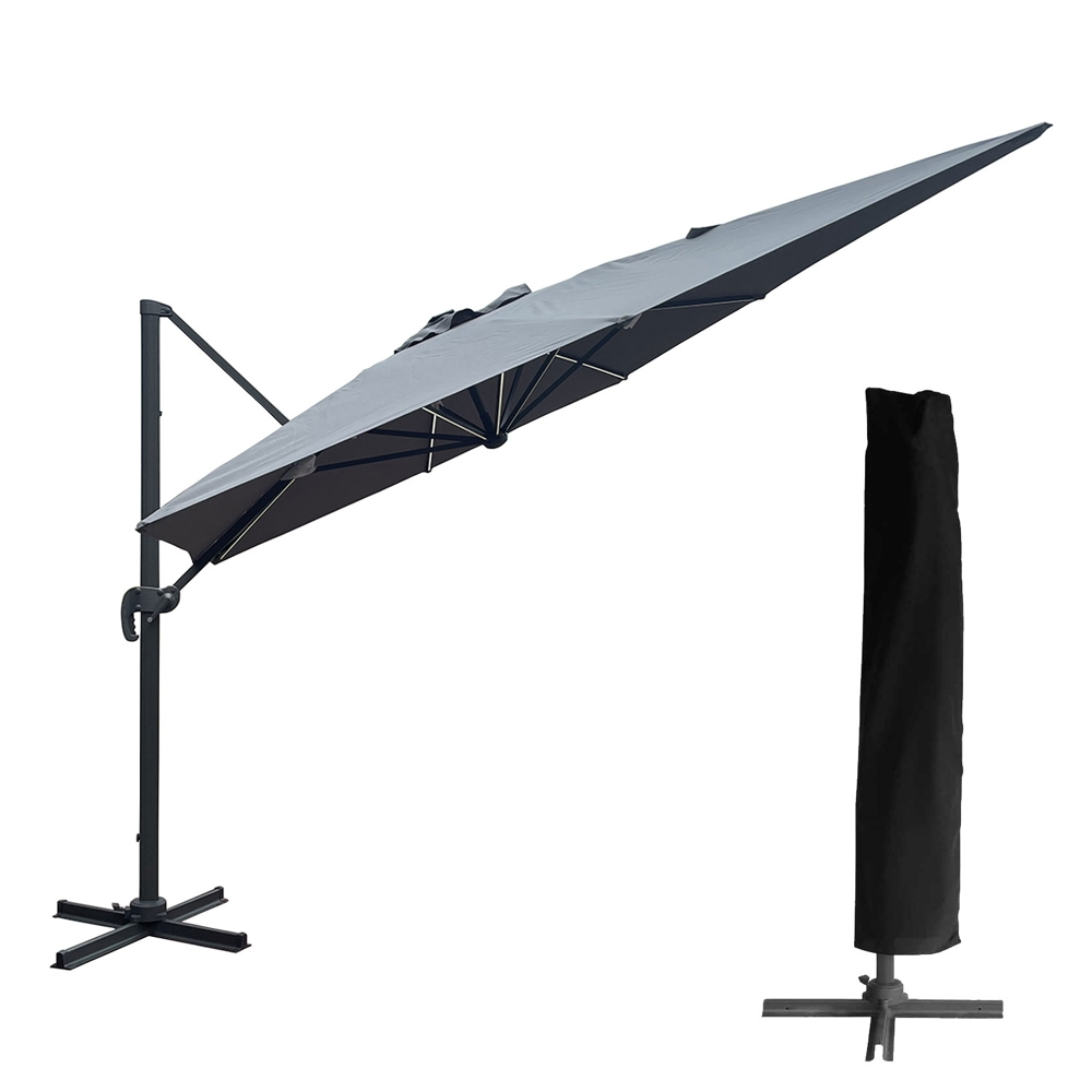 Parasol déporté MOLOKAI rectangulaire LED 3x4m gris + housse