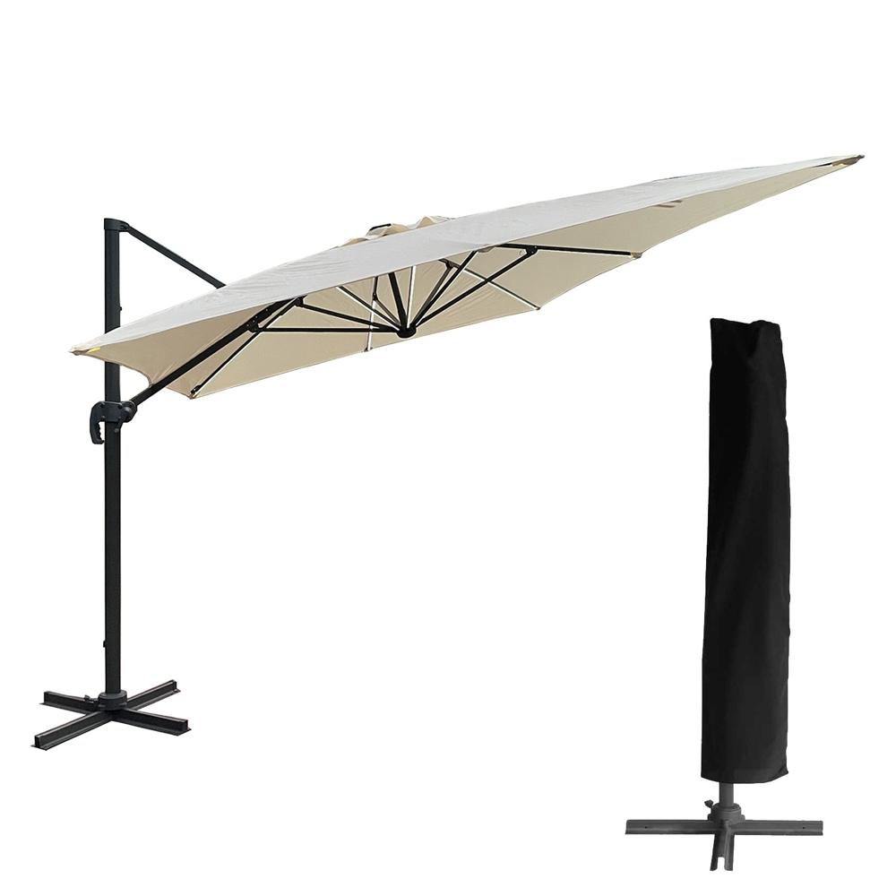 Parasol déporté MOLOKAI rectangulaire LED 3x4m beige + housse