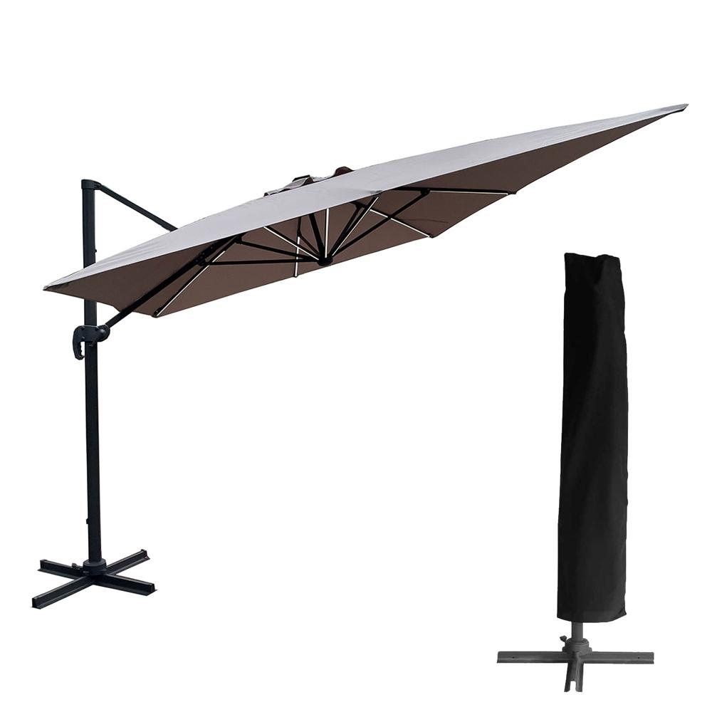 Parasol déporté MOLOKAI rectangulaire LED 3x4m taupe + housse