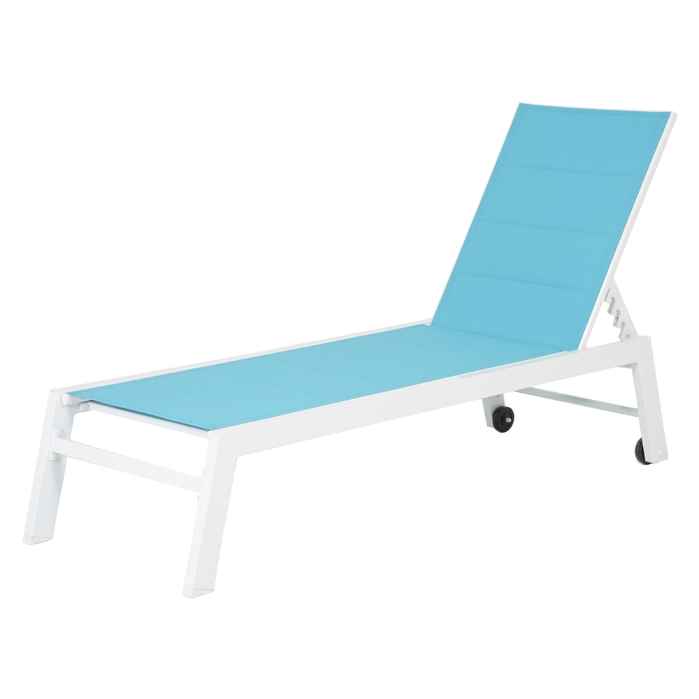 Bain de soleil BARBADOS en textilène bleu - aluminium blanc