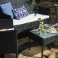Salon de jardin CORDOUE en résine tressée noire 4 places - coussins crème