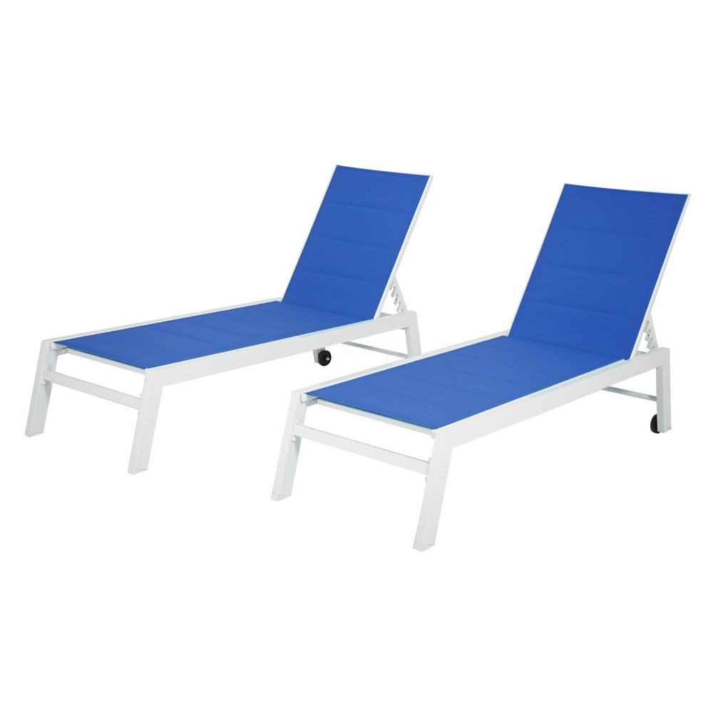 Lot de bains de soleil BARBADOS en textilène bleu - aluminium blanc