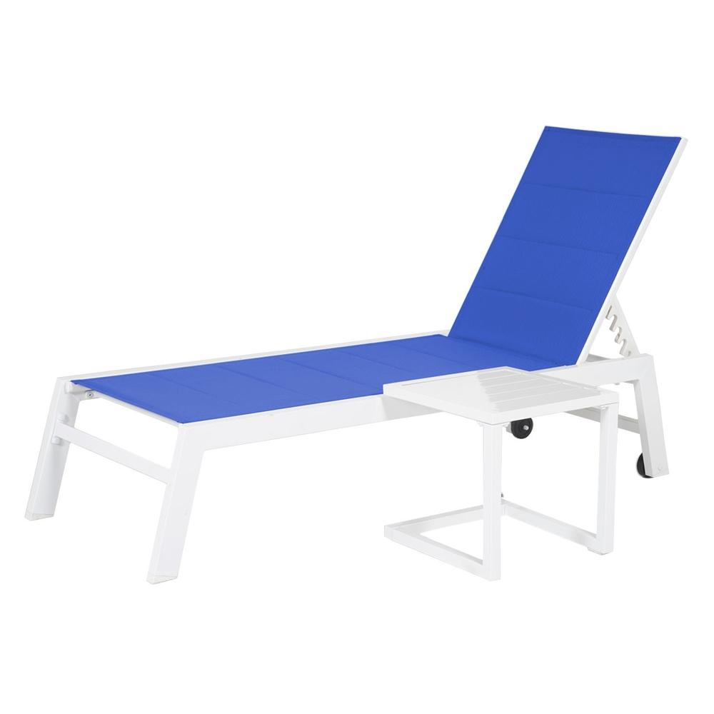 Set bain de soleil et table d'appoint BARBADOS - textilène bleu/structure blanche