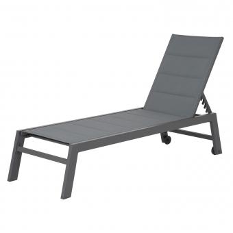 Bain de soleil BARBADOS en textilène gris - aluminium noir