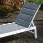 Bain de soleil BARBADOS en textilène gris - aluminium blanc