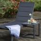 Set bain de soleil et table d'appoint BARBADOS en textilène noir - aluminium noir