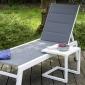 Set bain de soleil et table d'appoint BARBADOS en textilène gris - aluminium blanc