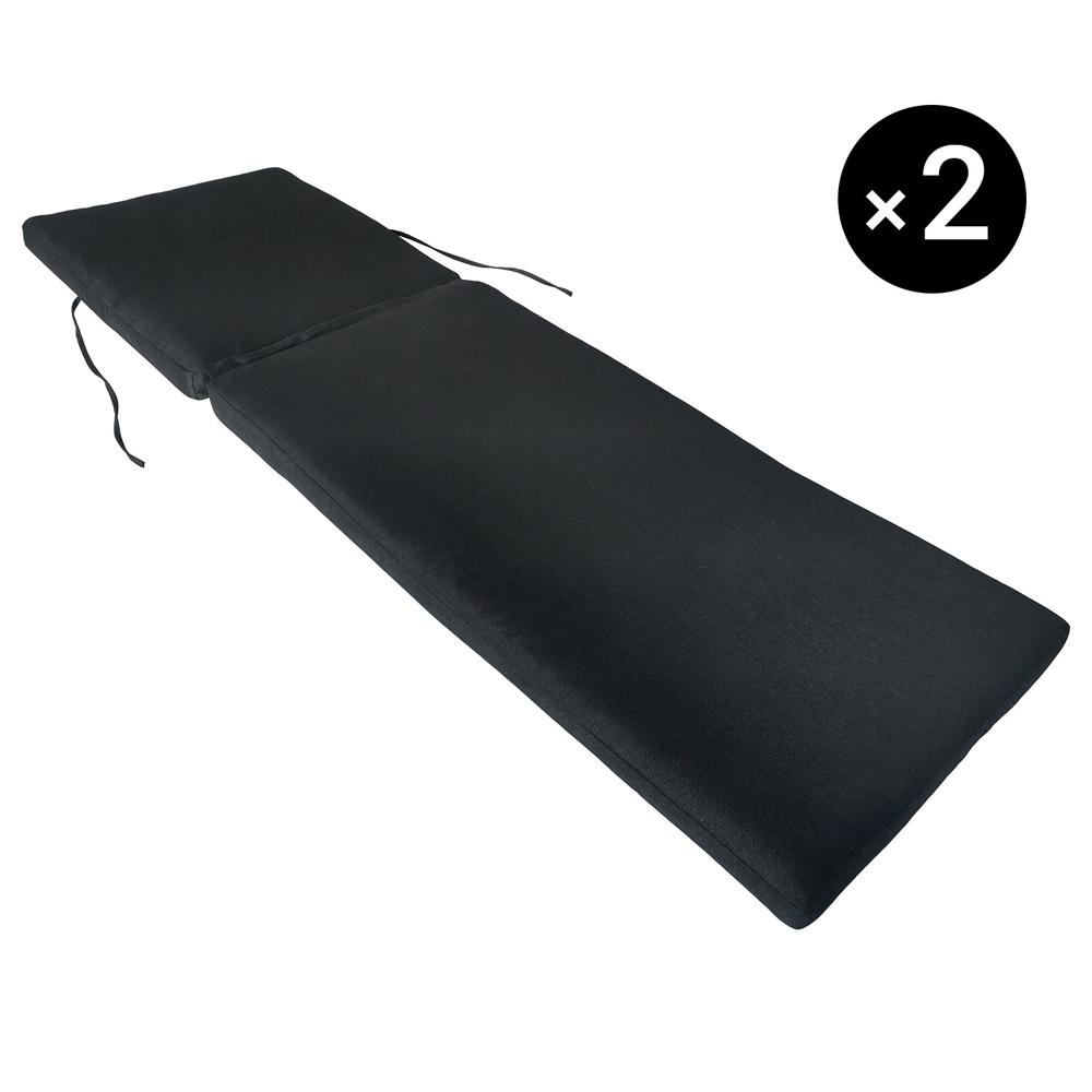Lot de 2 coussins de bain de soleil - anthracite 190 × 60cm