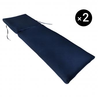 Lot de 2 coussins de bain de soleil - bleu 190 × 60cm