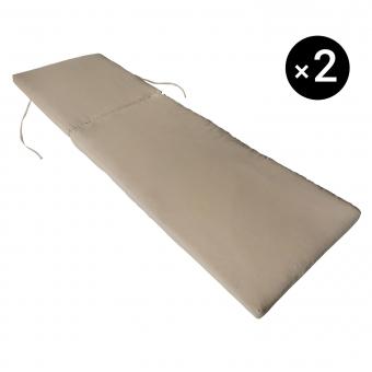 Lot de 2 coussins de bain de soleil - taupe 190 × 60cm