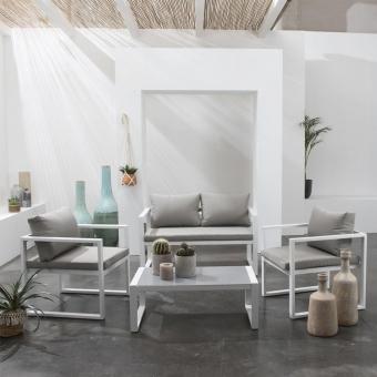 Salon de jardin IBIZA en tissu gris 4 places - aluminium blanc
