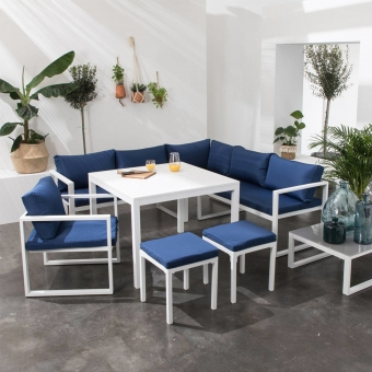 Salon de jardin modulable IBIZA en tissu bleu 7 places - aluminium blanc