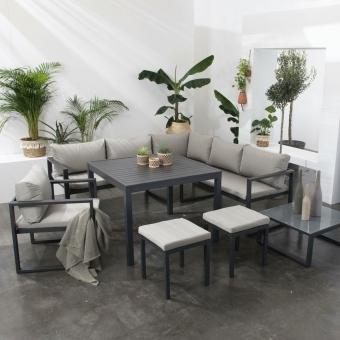 Salon de jardin modulable IBIZA en tissu gris 7 places - aluminium anthracite