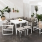 Salon de jardin modulable IBIZA en tissu gris 7 places - aluminium blanc