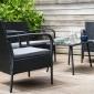 Salon de jardin LIPARI en résine tressée noir 4 places - coussins gris