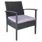 Salon de jardin MINORQUE en résine tressée noire 2 places - coussins gris