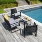 Salon de jardin MAJORQUE en résine tressée noir 4 places - coussins gris
