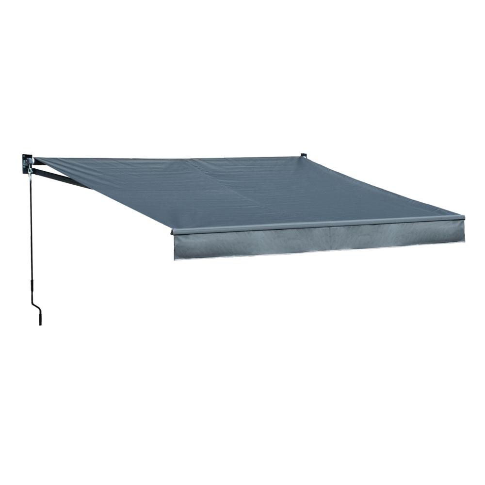 Store banne SAULE 3,5 × 3m - Toile anthracite et structure grise
