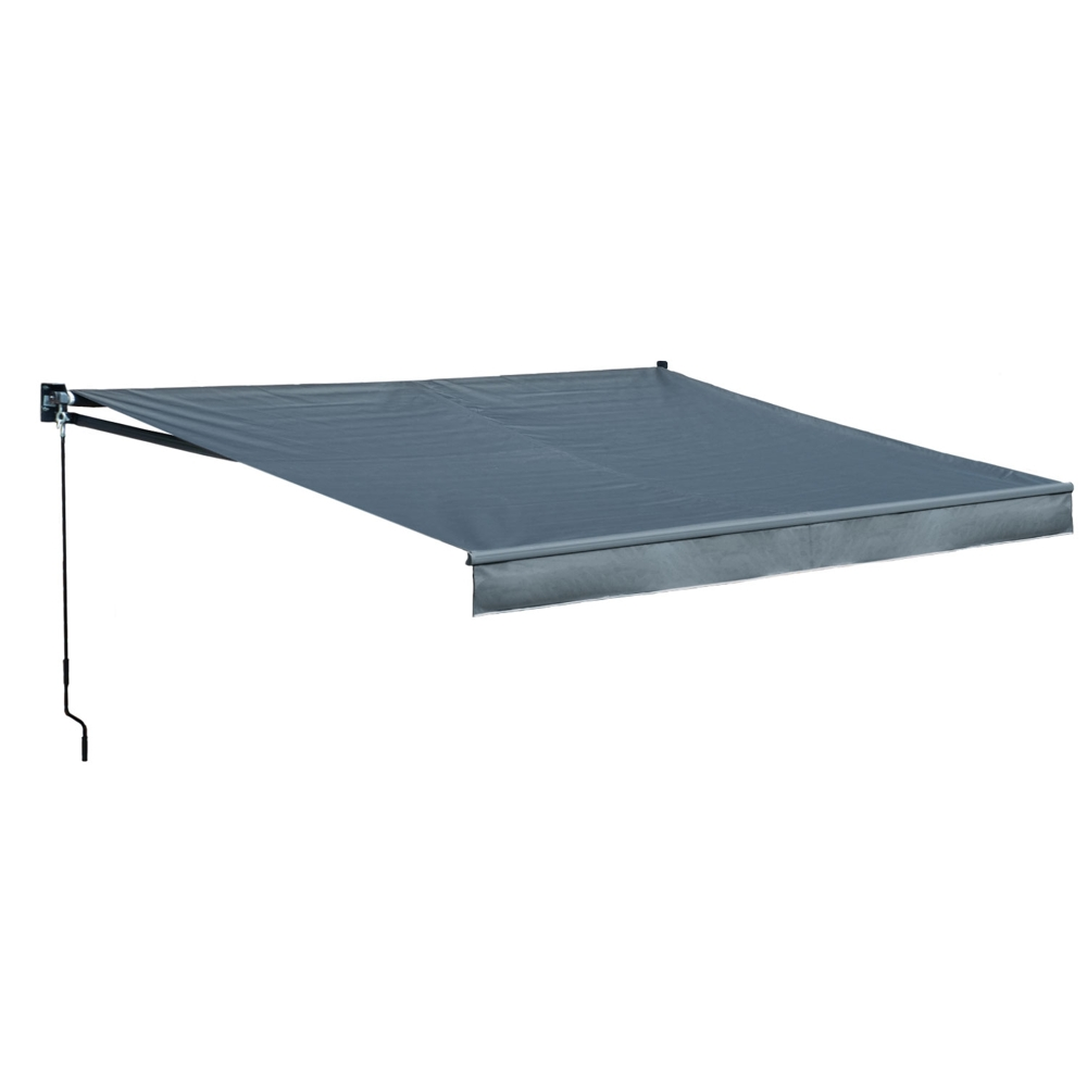 Store banne SAULE 3,95 × 3m - Toile anthracite et structure grise