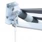 Store banne SAULE 3,5 × 3m - Toile rayée blanche/grise et structure blanche