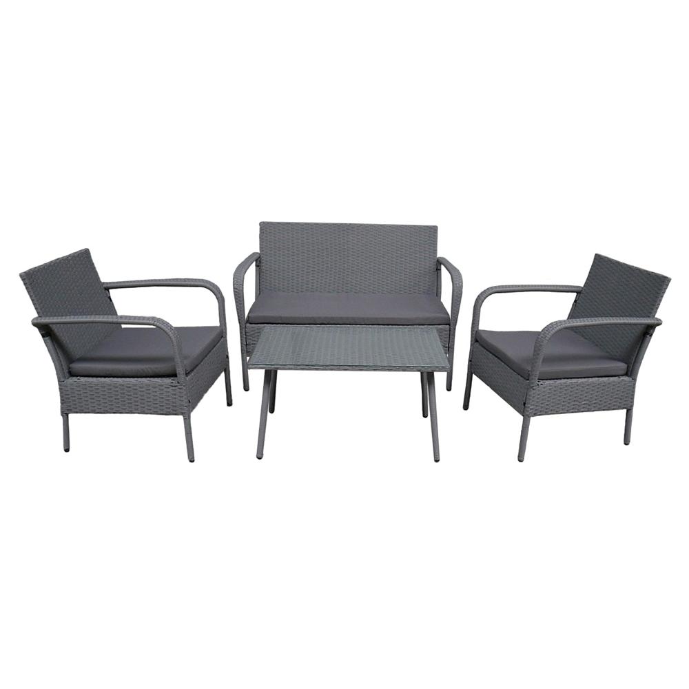 Salon de jardin LIPARI en résine tressée grise 4 places - coussins gris