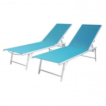 Lot de 2 bains de soleil pliants SICILIA en textilène bleu - structure blanche