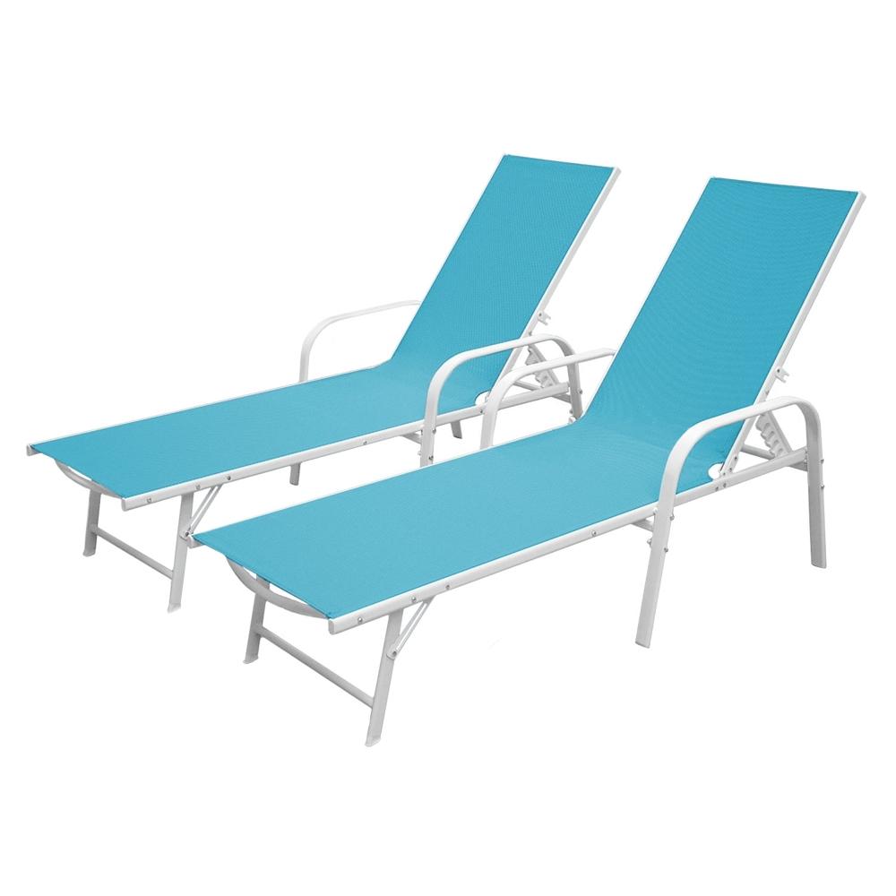 Lot de 2 bains de soleil SARDINIA en textilène bleu - structure blanche