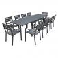 Salon de jardin VENEZIA extensible 132/264 en aluminium anthracite - 10 places