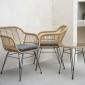 Salon de jardin LIFOU en résine 2 places - coussins gris