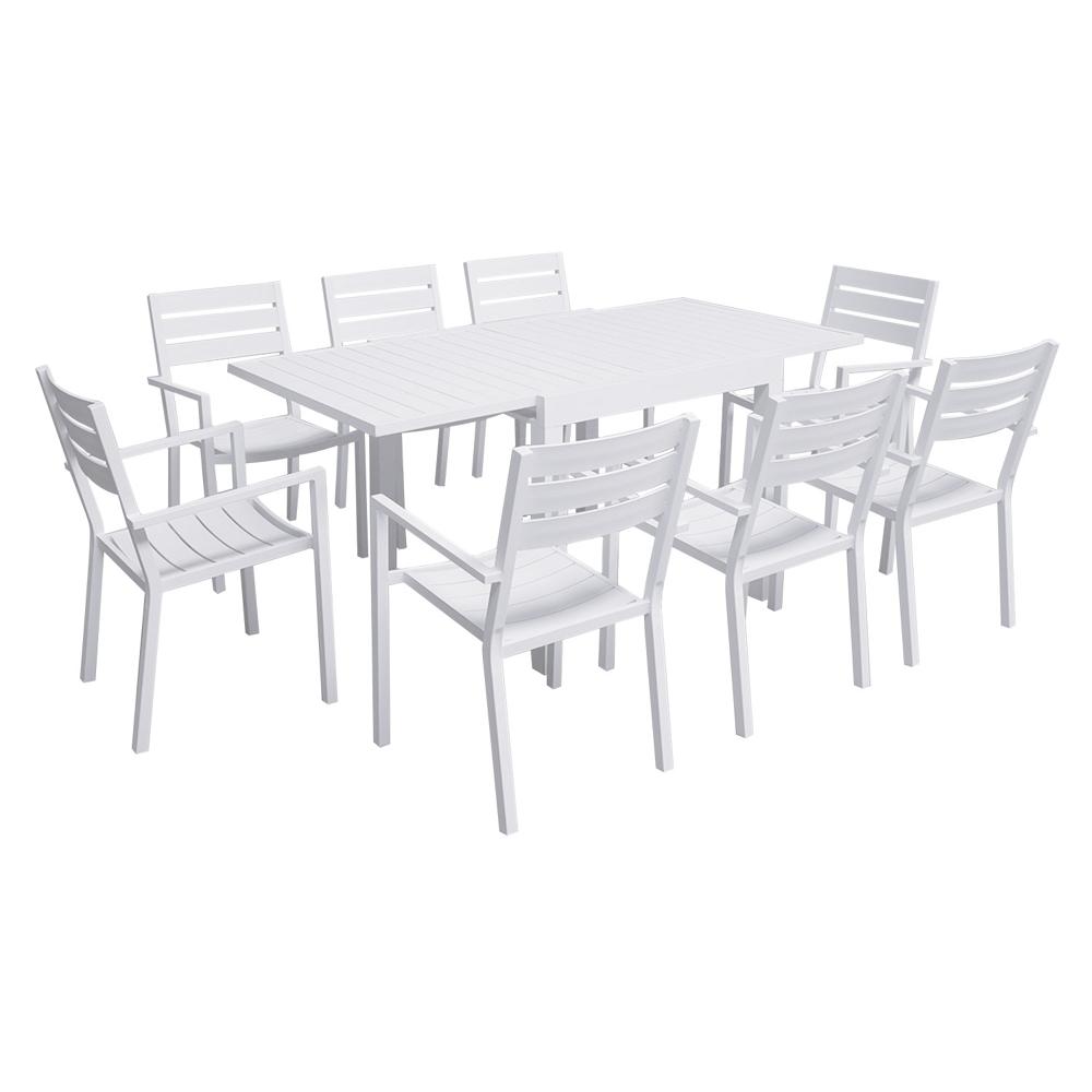 Salon de jardin VENEZIA extensible 90/180 en aluminium 8 places - blanc
