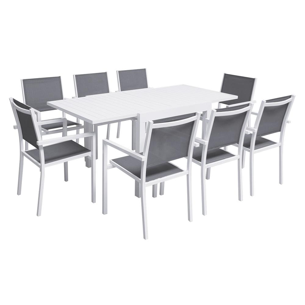 Salon de jardin VENEZIA extensible 90/180 en textilène gris 8 places - aluminium blanc