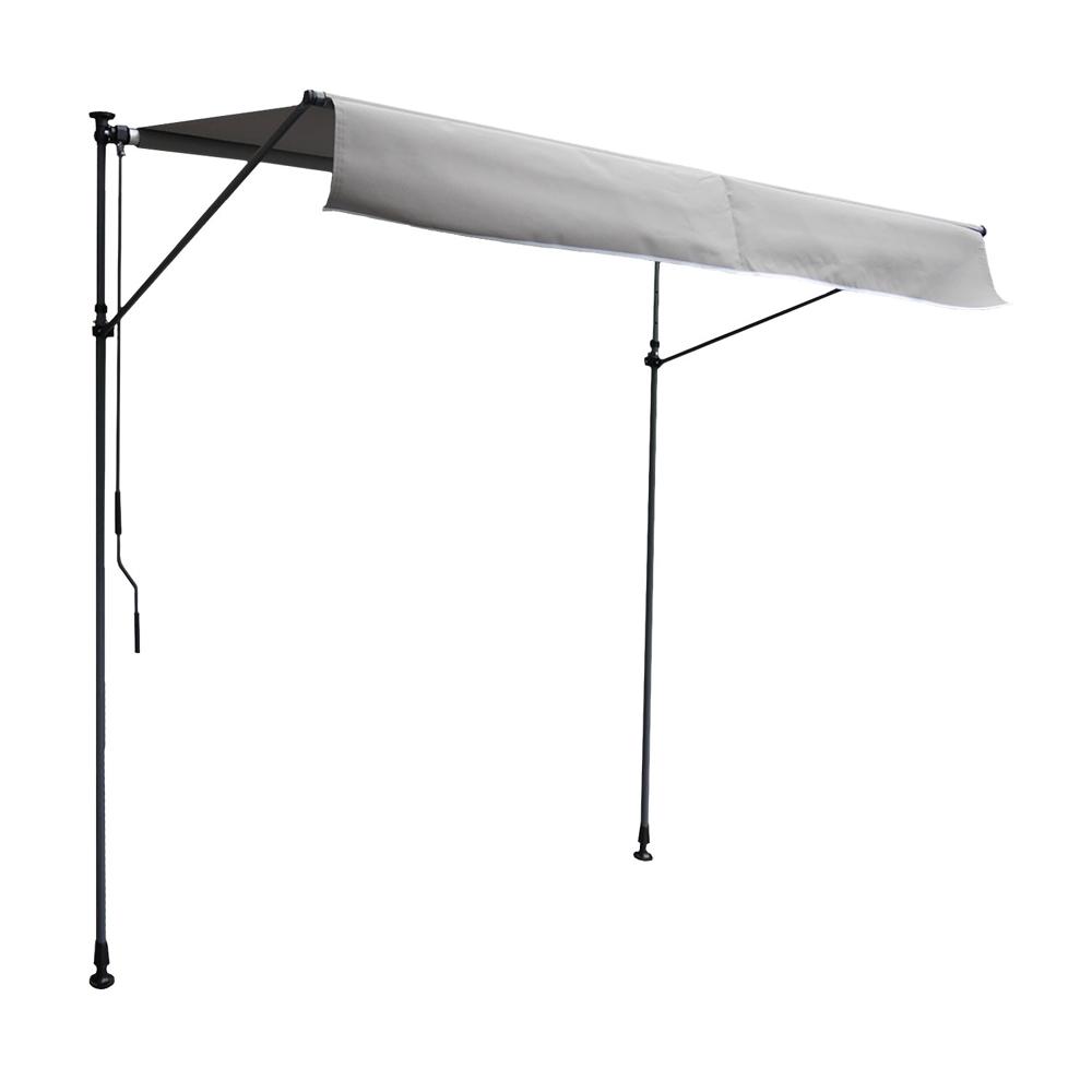 Store banne pour balcon CHENE 2 × 1,2m - Toile grise et structure grise