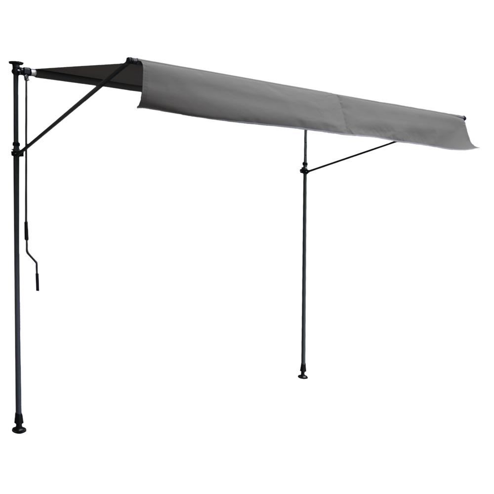 Store banne pour balcon CHENE 3 × 1,2m - Toile anthracite et structure grise