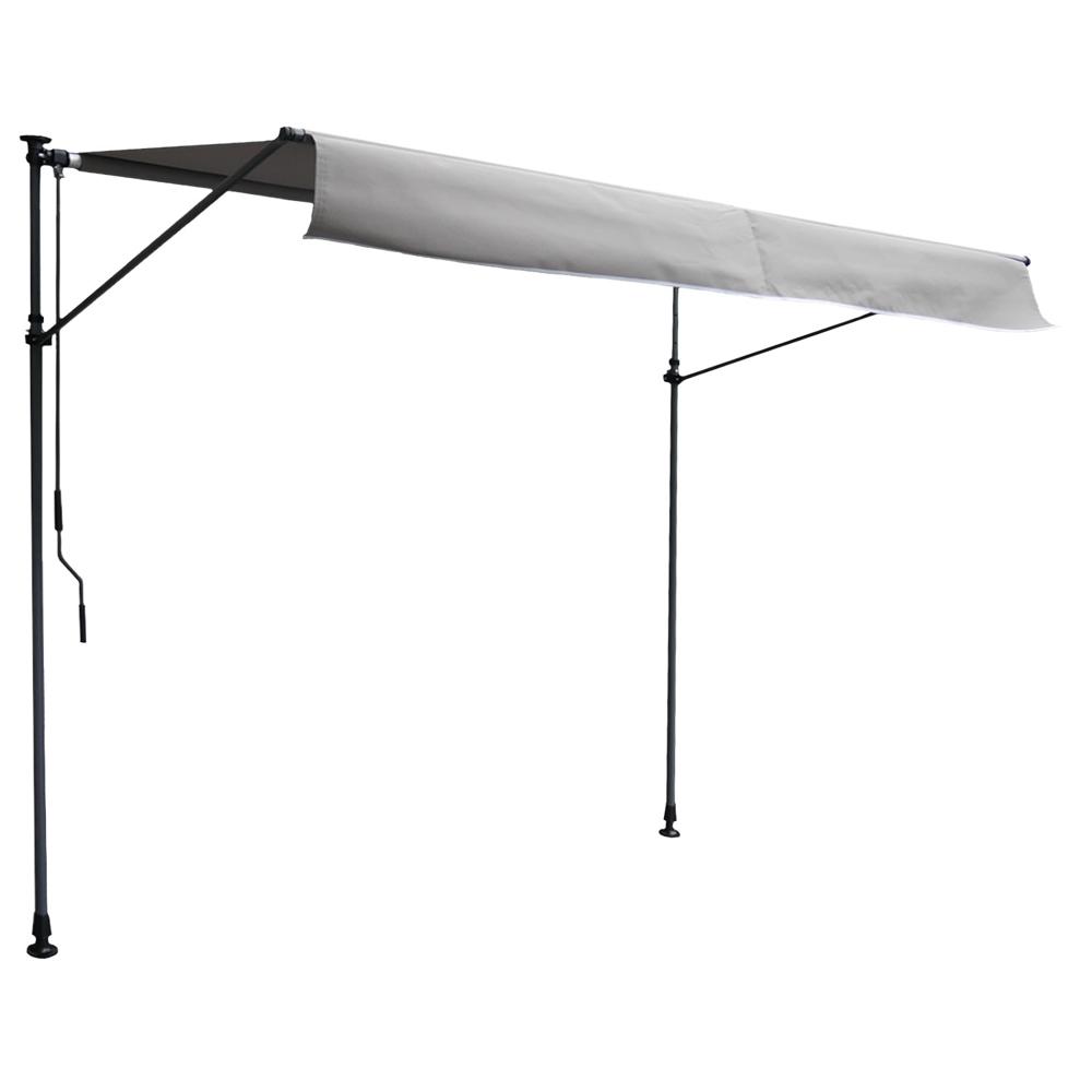 Store banne pour balcon CHENE 3 × 1,2m - Toile grise et structure grise