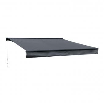 Store banne SAULE 3,95 × 3m avec semi-coffre - Toile anthracite et structure grise