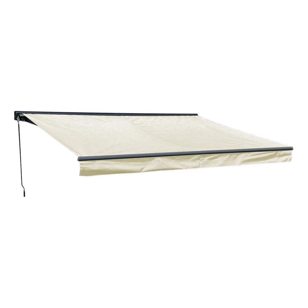 Store banne SAULE 3,95 × 3m avec semi-coffre - Toile beige et structure grise