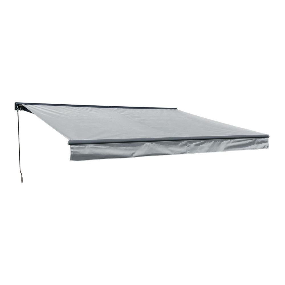 Store banne SAULE 3,95 × 3m avec semi-coffre - Toile grise et structure grise