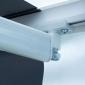 Store banne SAULE 3,95 × 3m avec semi-coffre - Toile rayée blanche/grise et structure blanche