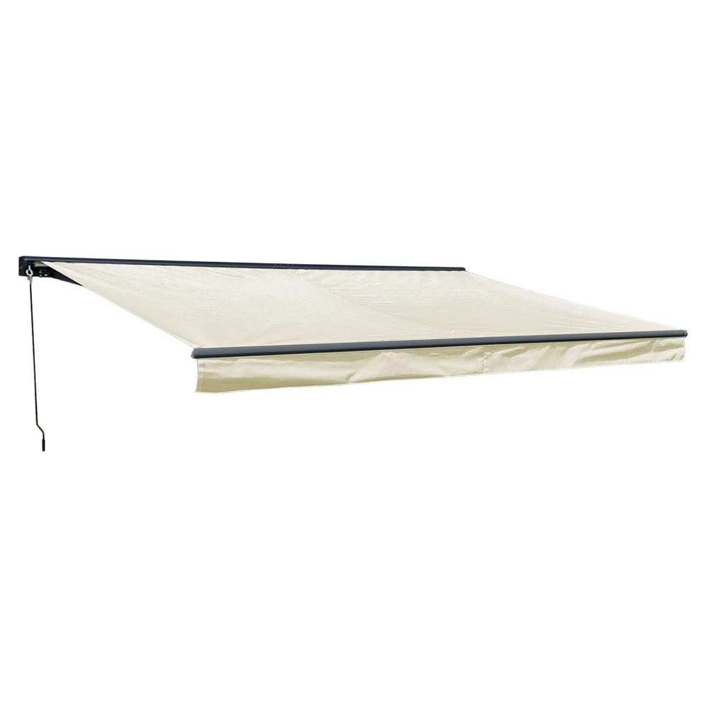 Store banne SAULE 5 × 3m avec semi-coffre - Toile beige et structure grise
