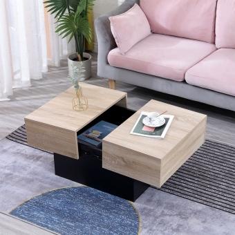 Table basse avec plateaux amovibles noire GRETA