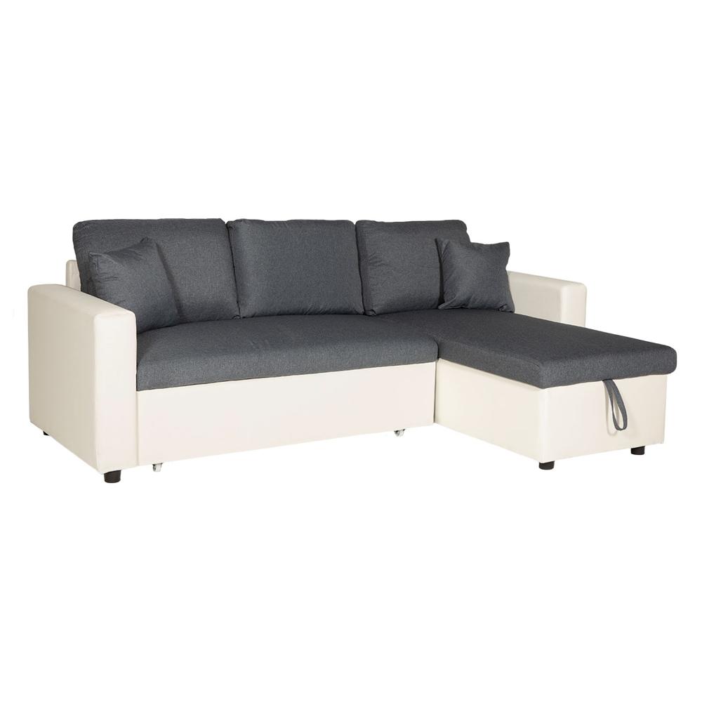 Canapé d'angle convertible CLARK 3 places gris chiné et blanc