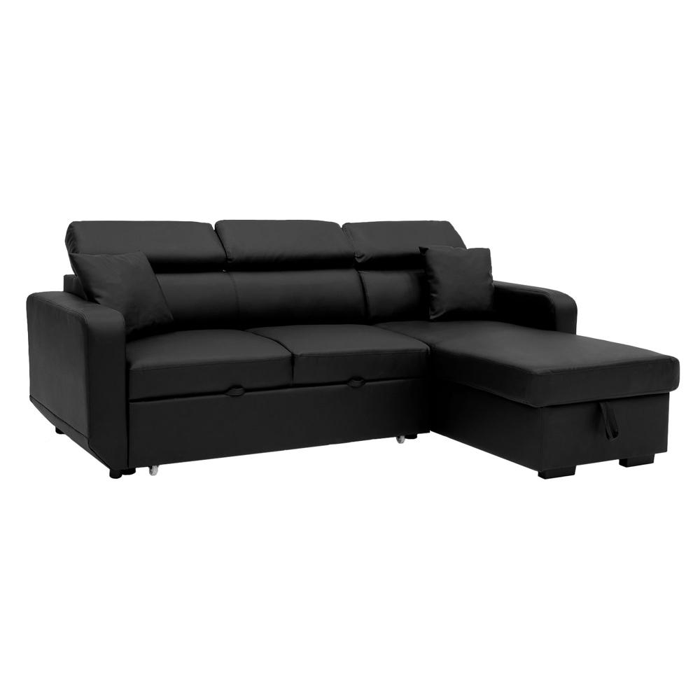 Canapé d'angle convertible WARREN 3 places simili noir
