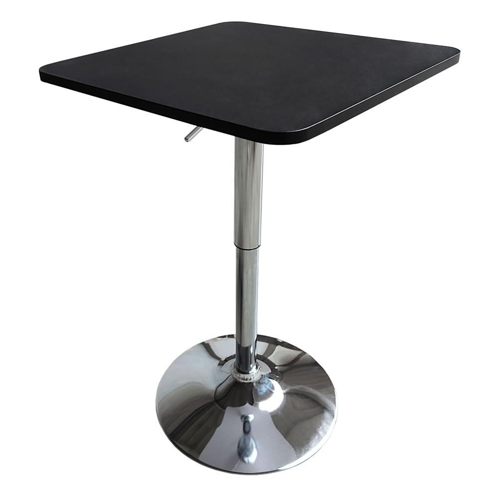 Table de bar carrée noire et chrome LUKE