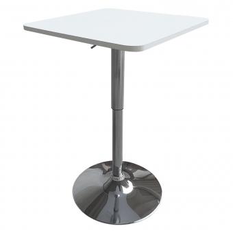 Table de bar carrée blanche et chrome LUKE