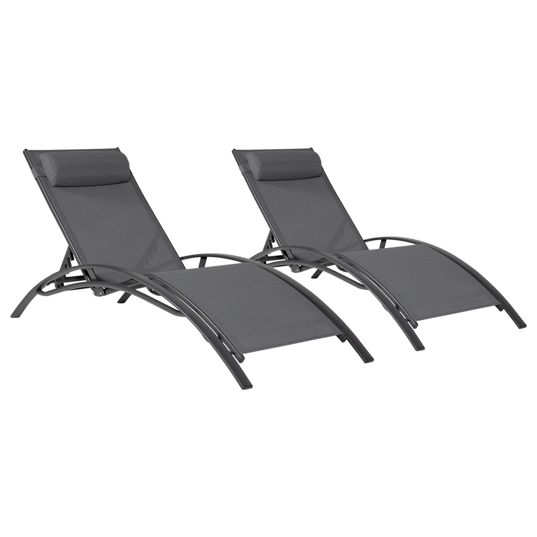 Transat en textilène GALAPAGOS - lot de 2 - textilène gris/structure noir