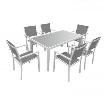 Salon de jardin BERGAMO en textilène gris 6 places - aluminium blanc