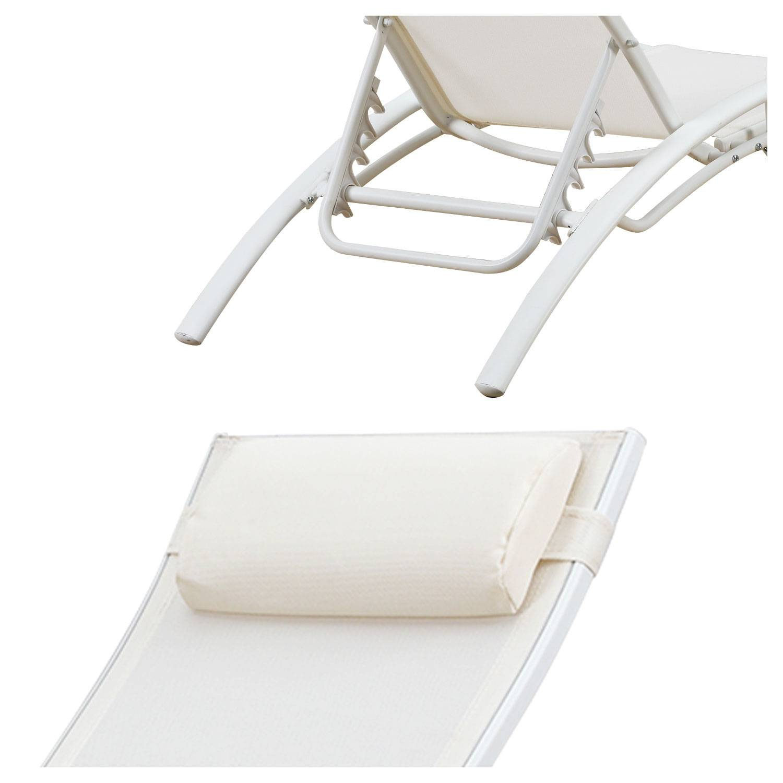 Transat en textilène GALAPAGOS - lot de 2 - textilène blanc/structure blanche