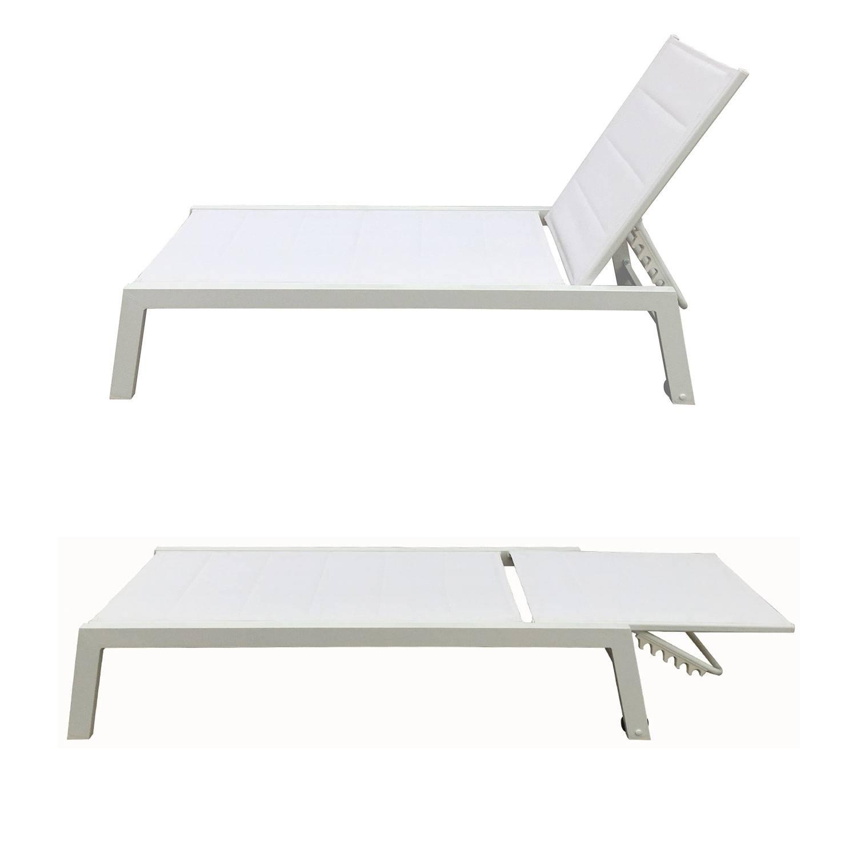 Bain de soleil BARBADOS en textilène blanc - aluminium blanc