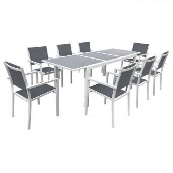 Salon de jardin FIRENZE extensible en textilène gris 8 places - aluminium blanc