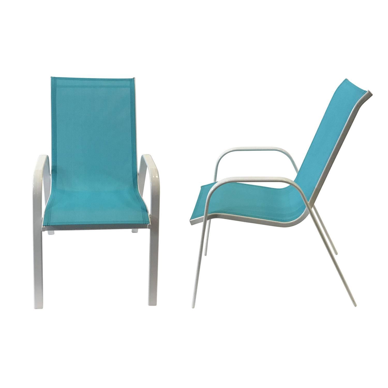 Lot de 4 chaises MARBELLA en textilène bleu - aluminium blanc